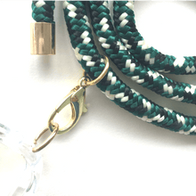 Load image into Gallery viewer, Phone necklace green mix. Changeable rope. Bets option to keep your hands free