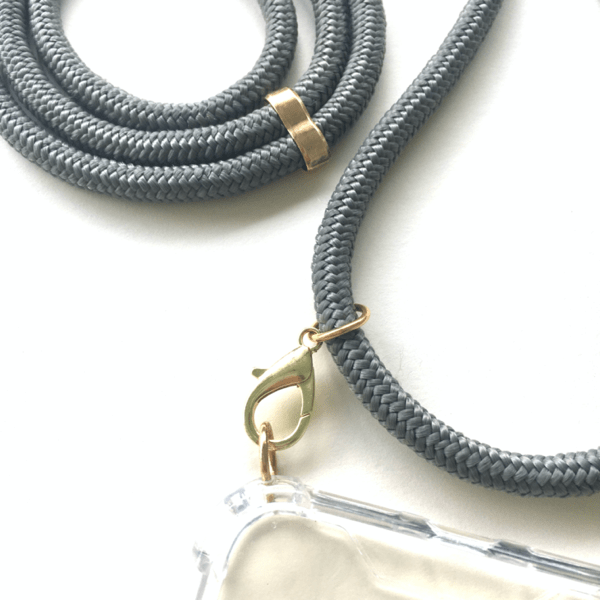 Phone necklace grey. Changeable rope. Bets option to keep your hands free