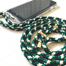 Load image into Gallery viewer, Phone necklace green mix. Crossbody rope. Bets option to keep your hands fre