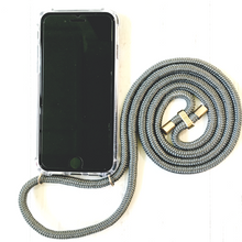 Load image into Gallery viewer, Phone necklace grey. Crossbody rope. Bets option to keep your hands free