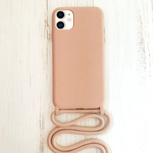 Load image into Gallery viewer, Biodegradable and Recyclable Phone case with rope. Ecofriendly in Turquoise. Best option to keep your hands free. Bella Hub