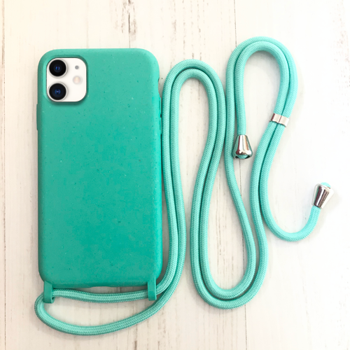 Biodegradable and Recyclable Phone case with rope. Ecofriendly in Turquoise. Best option to keep your hands free. Bella Hub