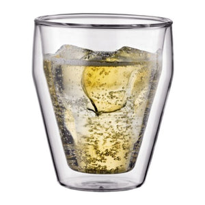 TITLIS Glass, 2 pieces, double wall, small, 0.25L, 8 oz, stackable, transparent