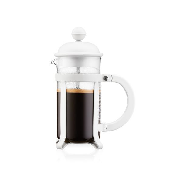JAVA French press coffee maker, 3 cup, 0.35 l, 12 oz, s/s WHITE