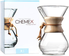 Load image into Gallery viewer, SIX CUP CLASSIC CHEMEX® Coffee Maker with Wood Collar and Tie, 6 cups