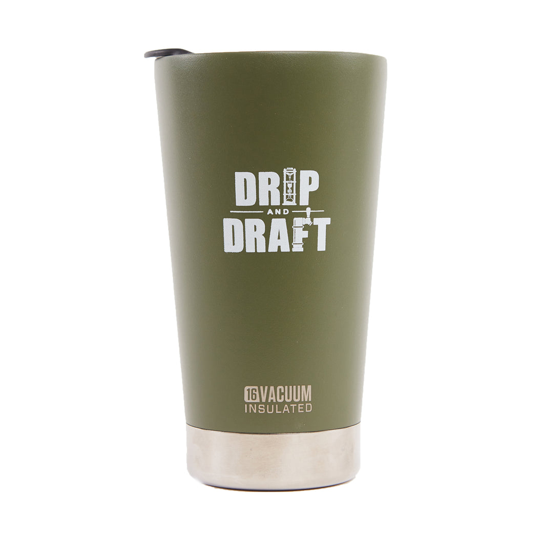 Drip and Draft X Klean Kanteen Insulated Tumbler 16oz (Silver)