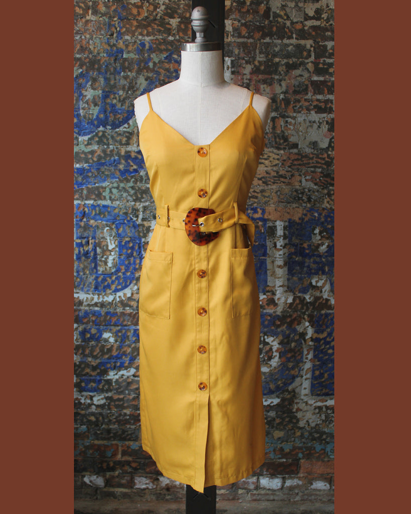 Moodie Button-Down Midi Dress - Mustard