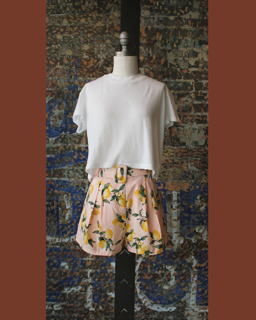 Moodie Printed Lemon Shorts with Belt