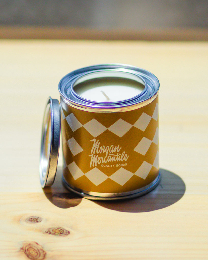 Morgan Mercantile Logo Paint Can Candle - Cedar and Tobacco