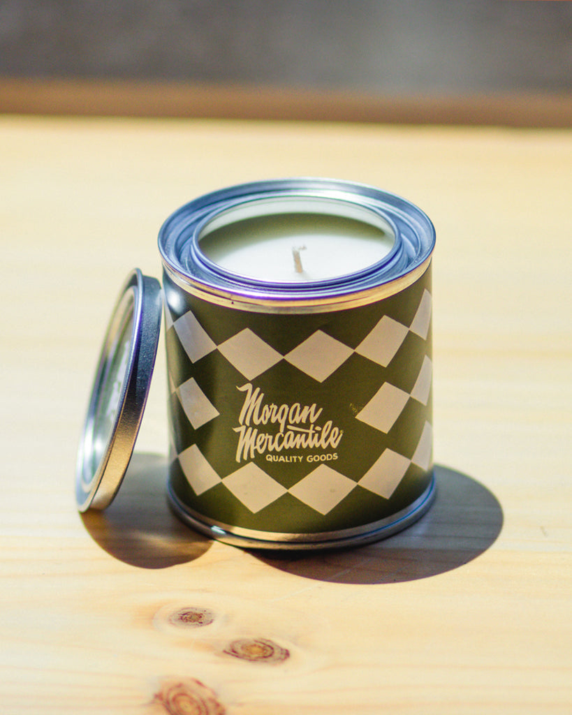 Morgan Mercantile Logo Paint Can Candle - Musk and Teakwood
