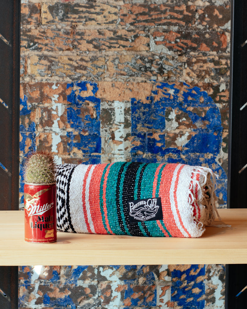 Panther City Provisions Mexican Blanket - Coral & Sea Green