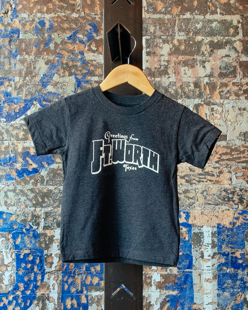 Greetings From Ft Worth Tee - Heather Charcoal