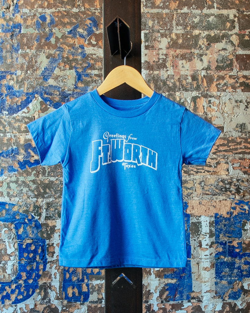 Greetings From Ft Worth Tee - Heather Light Blue