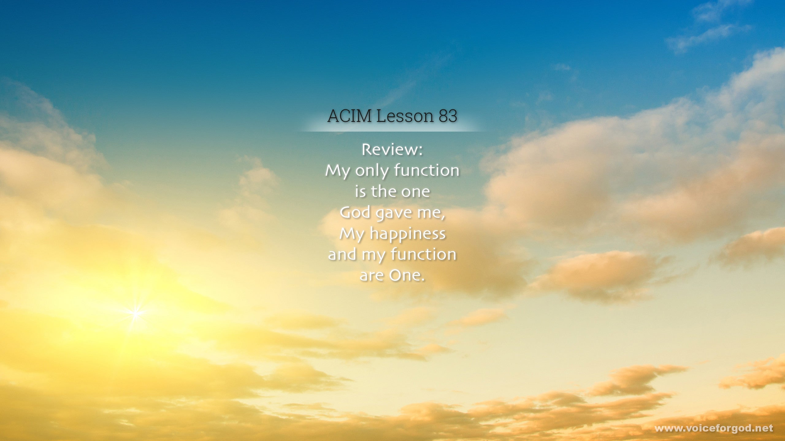 ACIM Lesson 83 - A Course in Miracles Workbook Lesson 83
