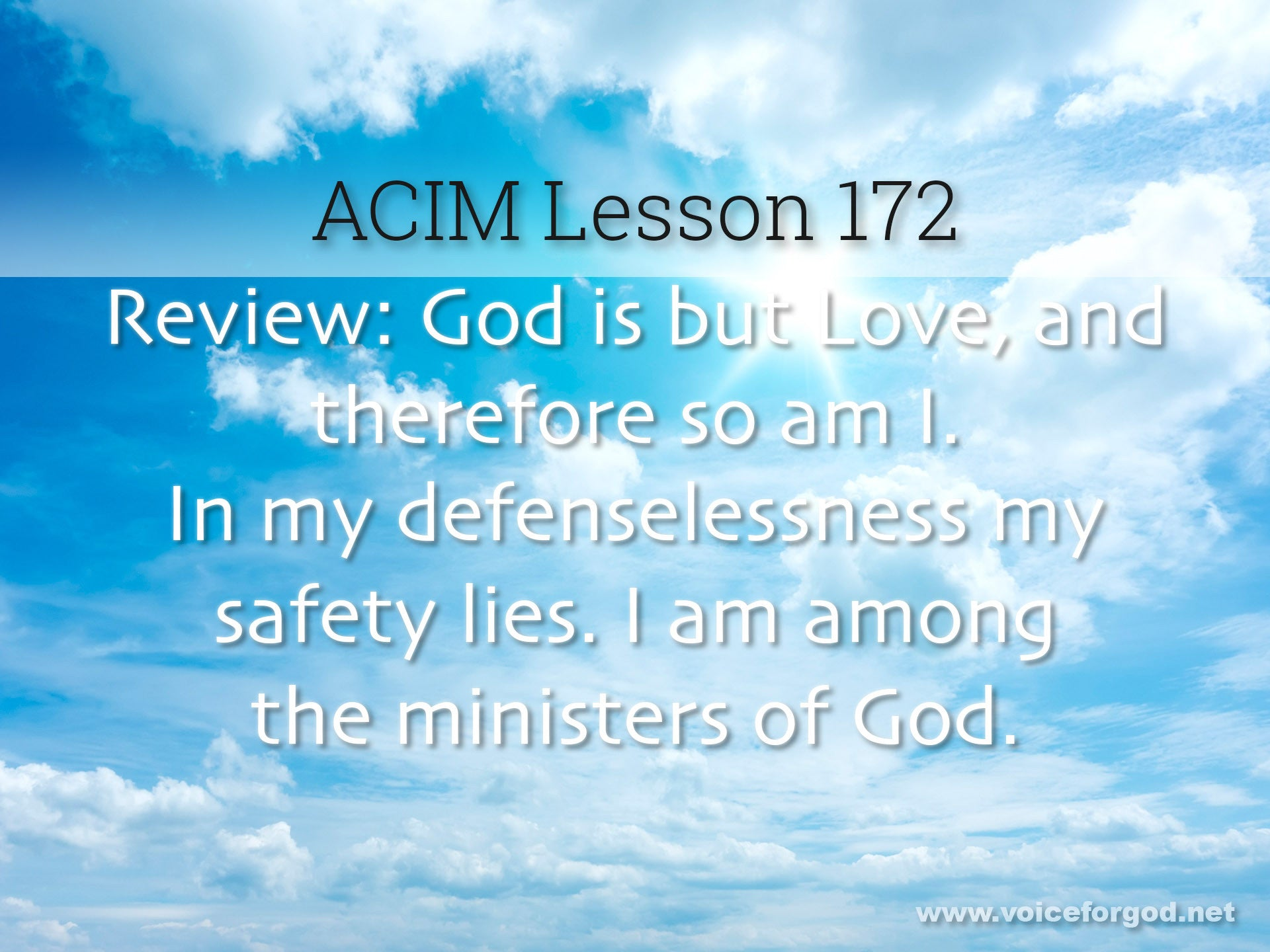 ACIM Lesson 172 - A Course in Miracles Workbook Lesson 172