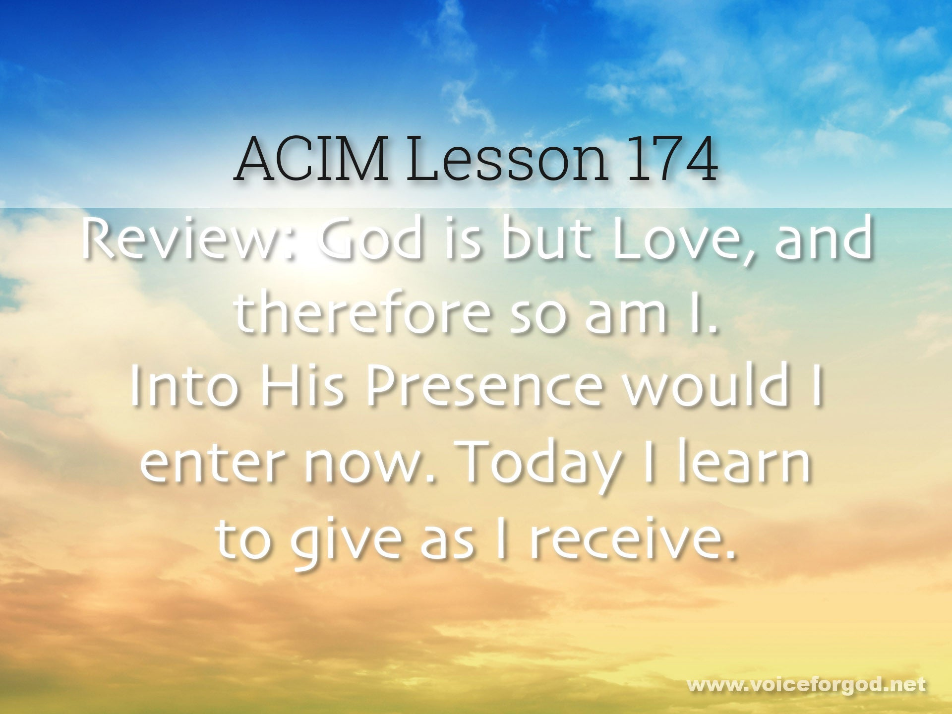 ACIM Lesson 174 - A Course in Miracles Workbook Lesson 174