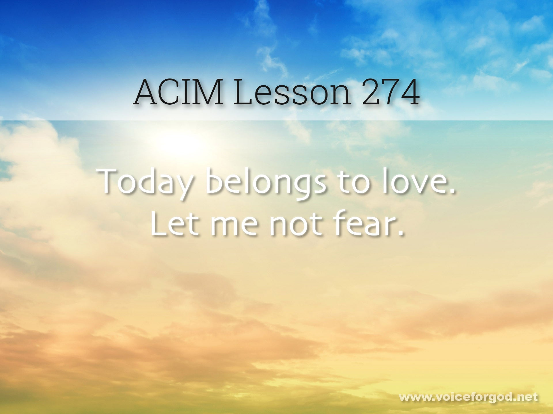 ACIM Lesson 274 - A Course in Miracles Workbook Lesson 274