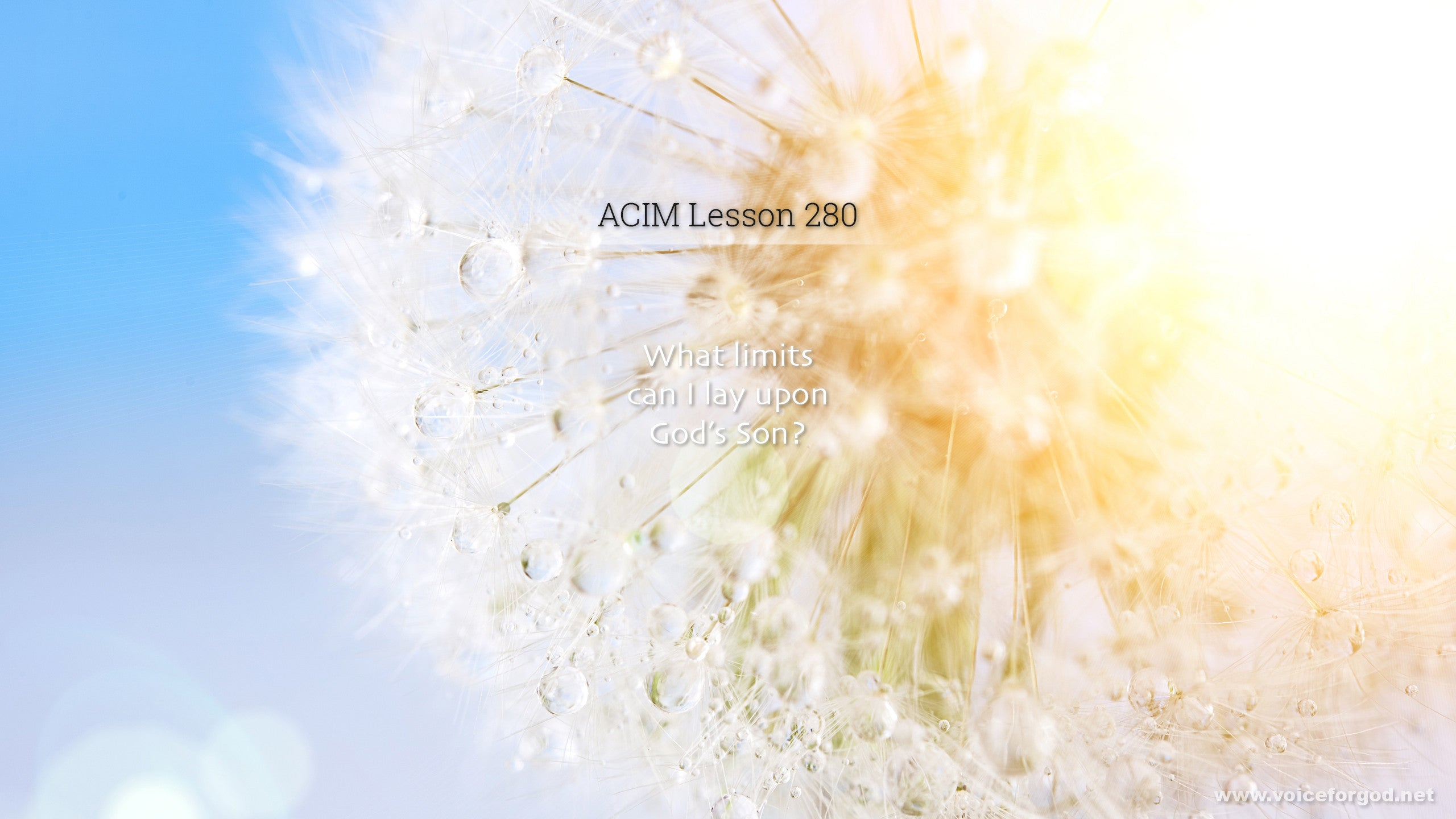 ACIM Lesson 280 - A Course in Miracles Workbook Lesson 280