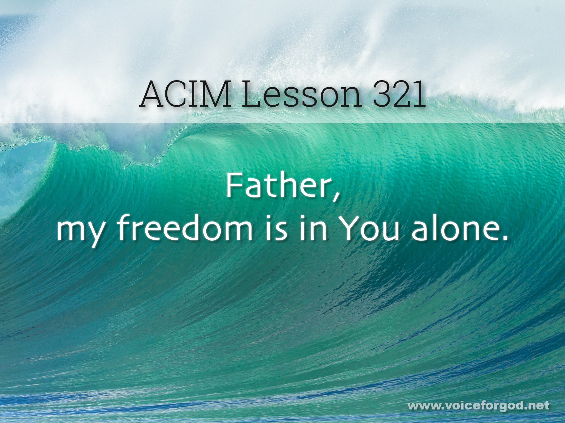 ACIM Lesson 321 - A Course in Miracles Workbook Lesson 321