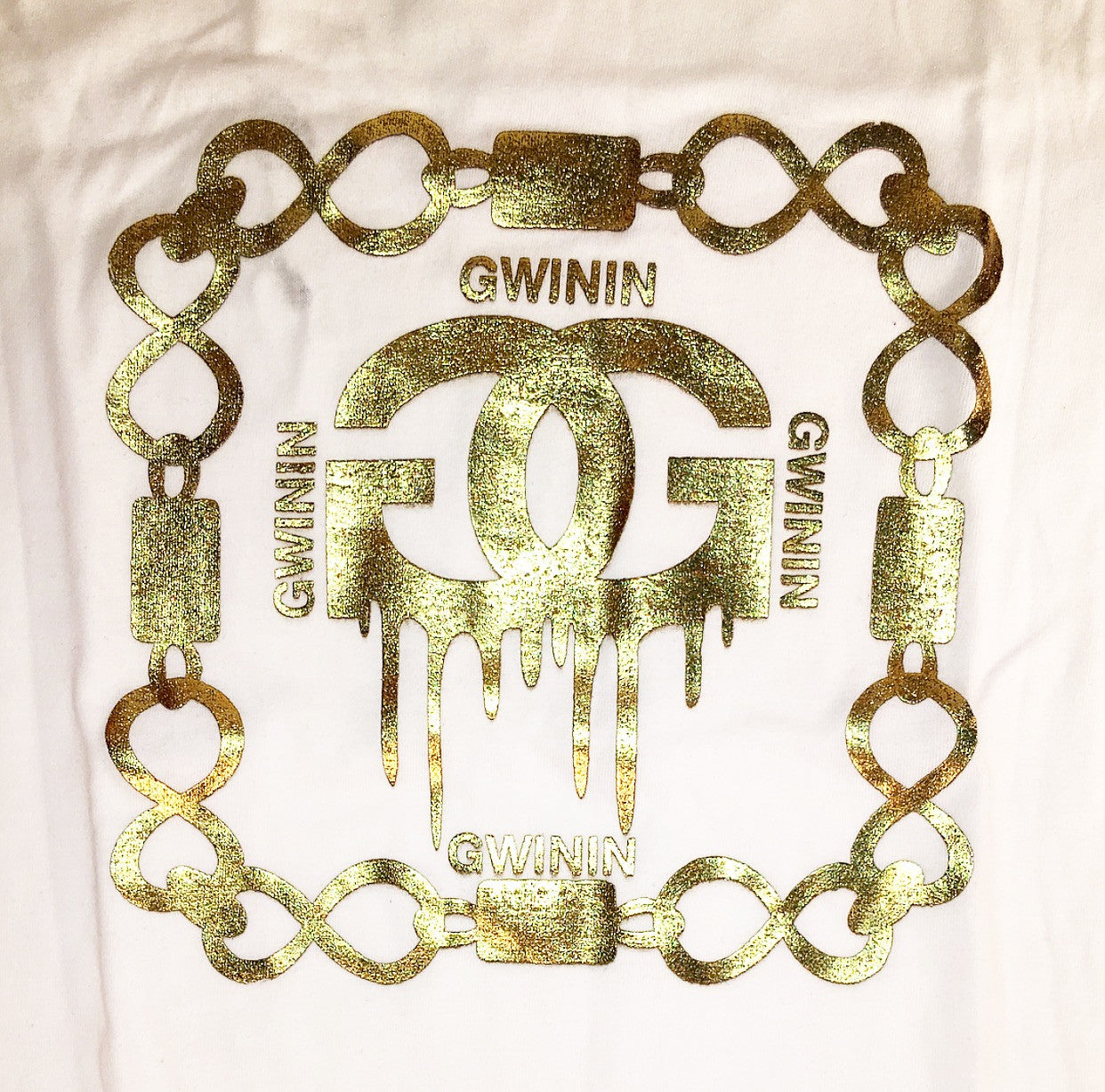 Women's Gold GC Gwinin Chain White T-Shirt