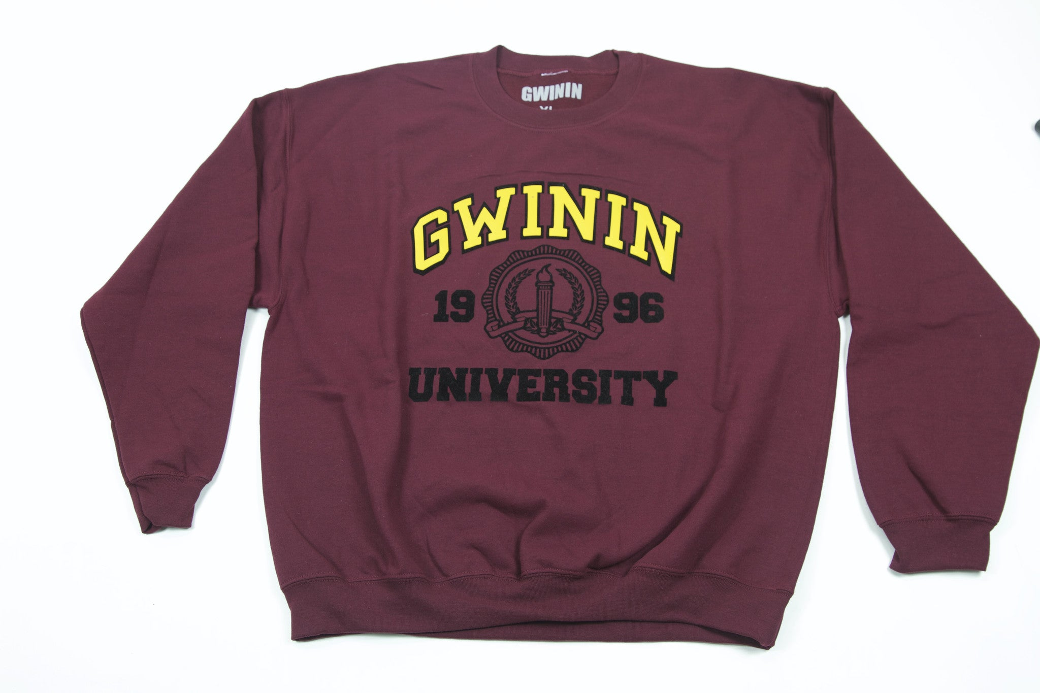 Burgundy Gwinin University Crew Neck Sweater