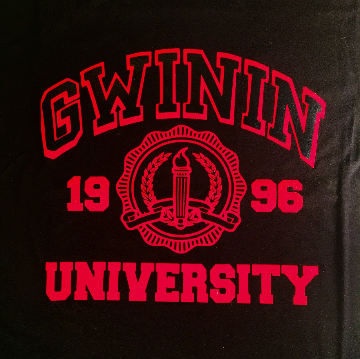 Men's Red Gwinin University on Black T-Shirt