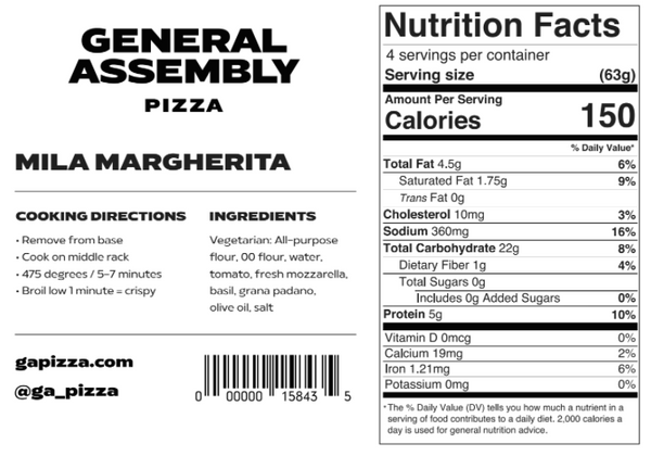 General Assembly Pizza® Mila Margherita - 4 packs