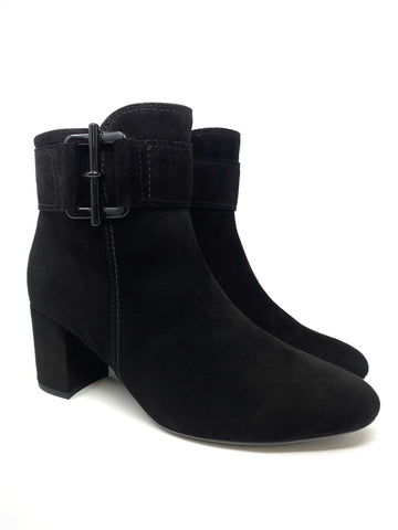 Black Suede Block Heel Shoe With Zip