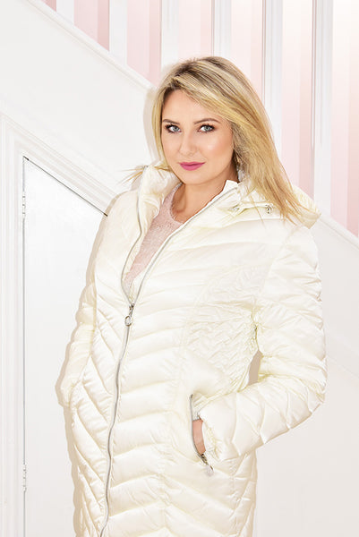 Cream Puffer Jacket With Hood