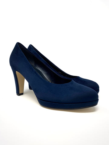 Thick Navy Suede High Heel