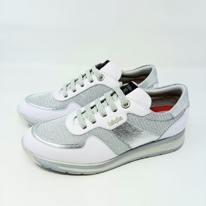 White Trainers With Silver Detail