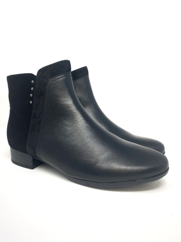 Black Suede and Leather Look Ankle Boot