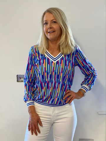 Multicolour Stripe V-Neck Top