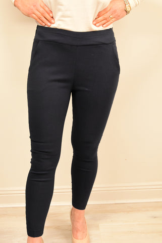 Navy Trousers With Elasticated Back Waist Band