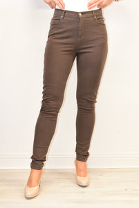 Brown High Rise Stretch Jeans