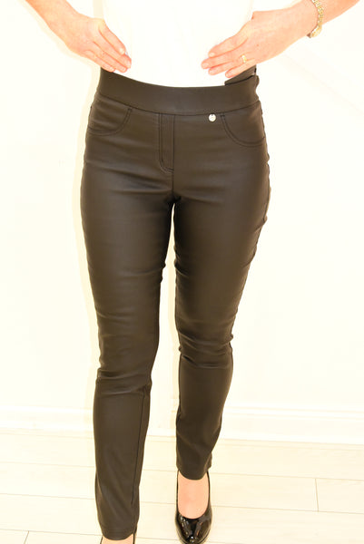 Leather Look Robell Rose Trouser Black