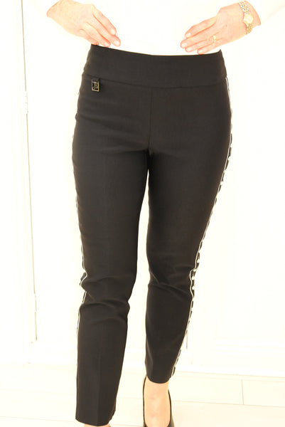 Black Pants With Pearl Detail Down Side