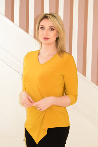 Yellow Long Sleeve Top with Knot Detail