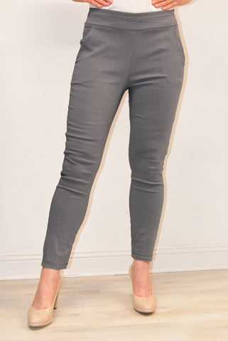 Grey Trousers With Elasticated Back Waist Band