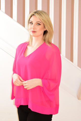 Hyper Pink Sheer Layered Top