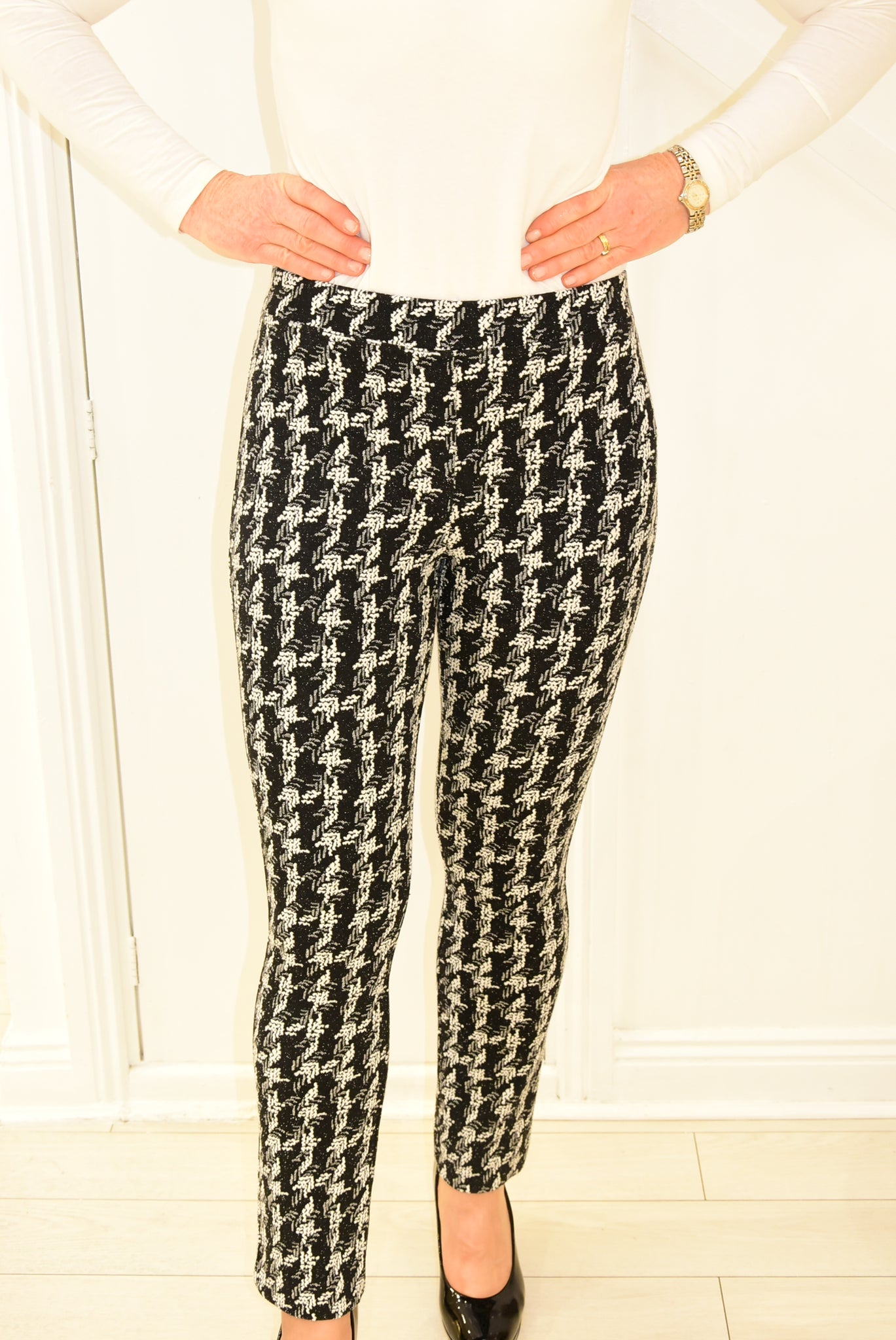 Black Houndstooth Ribkoff Trousers