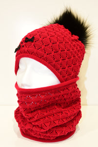 Red Crochet Beanie and Snood Set With Bows and Beads