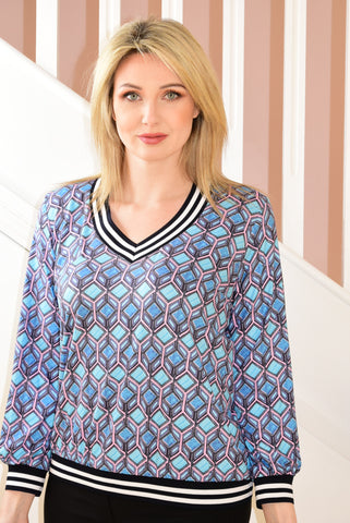 Blue/Pink Block Pattern Top With Stripe Neck & Waist