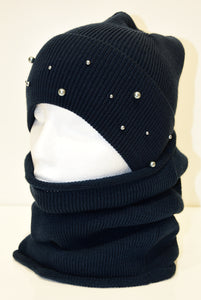 Navy Knit Beanie and Snood Set With Beads