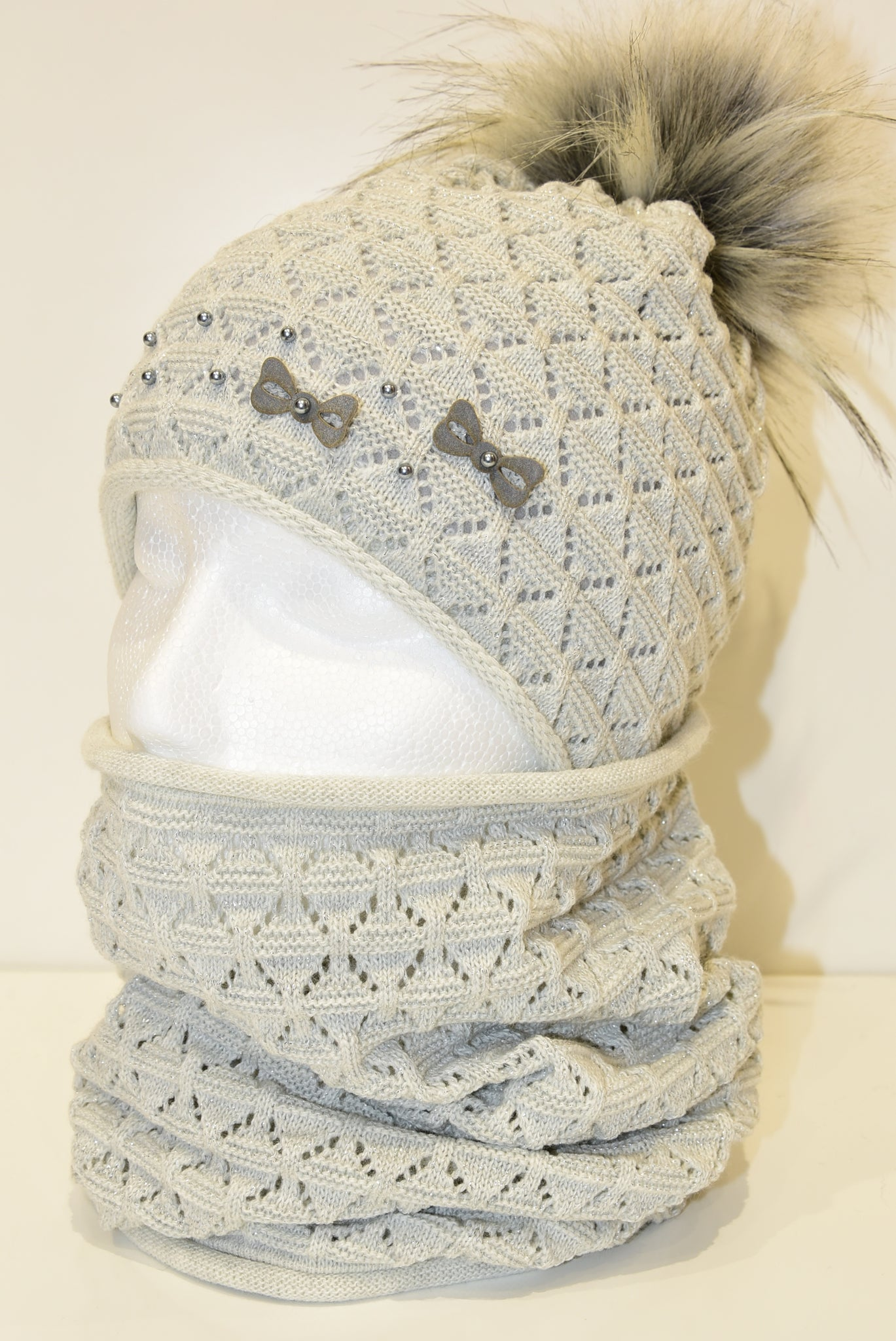 Grey Crochet Beanie and Snood Set With Bows and Beads