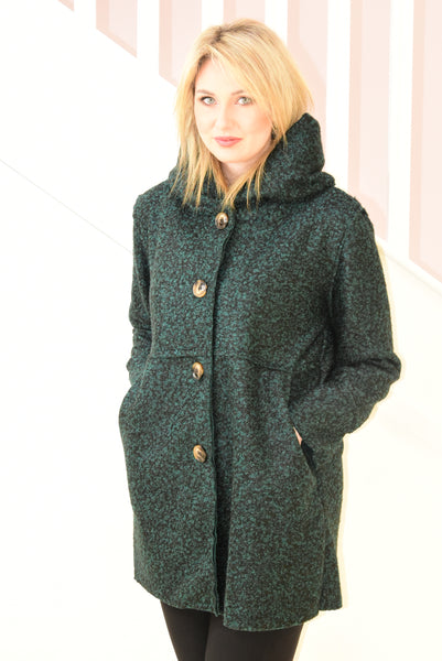 Dark Green Boucle Jacket With Buttons
