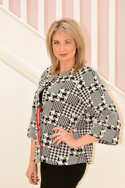 Square Print Coat With Large Button