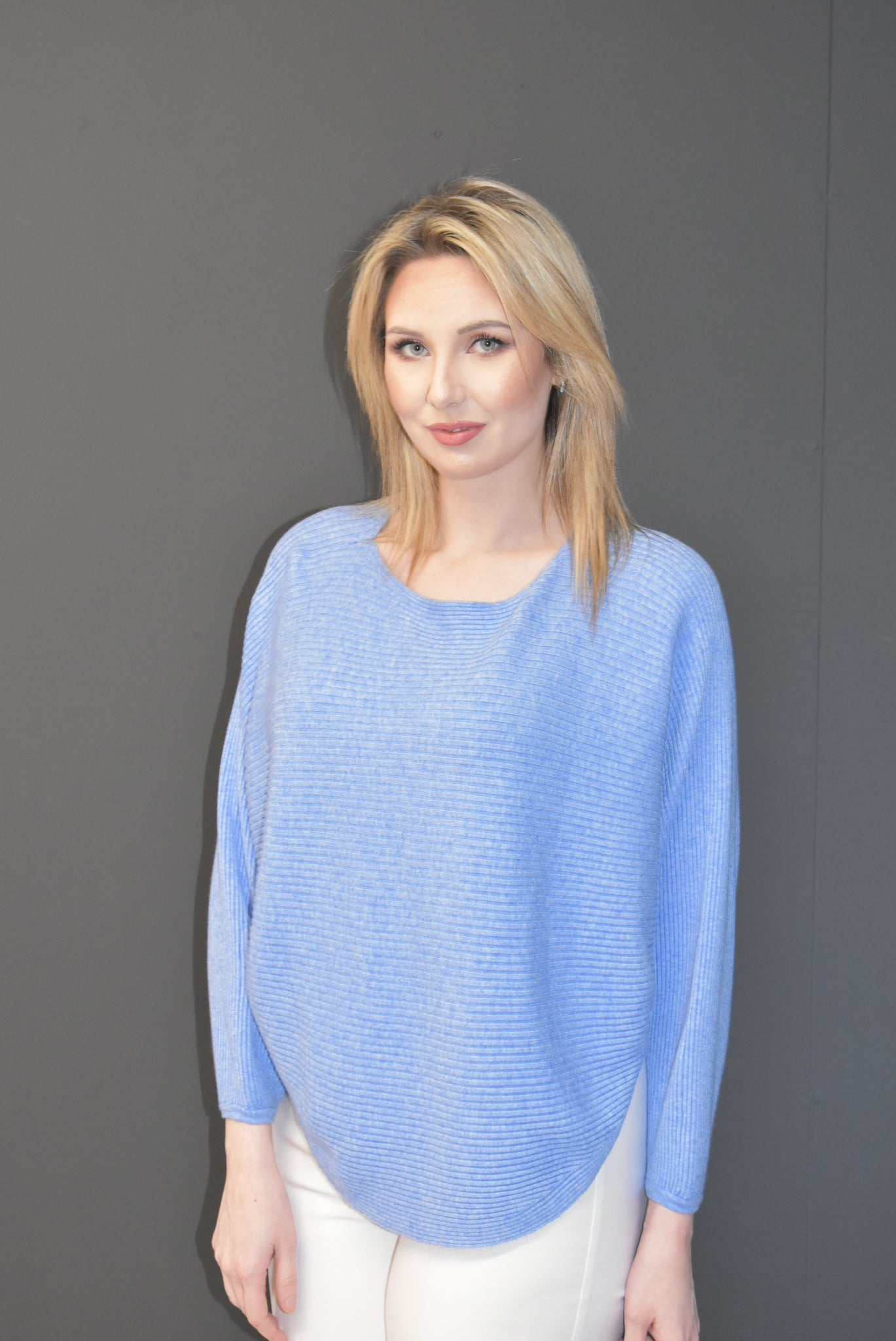 Blue Knitted Ribbed Jumper