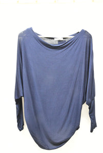 Cowl Neck Navy Long Sleeve Knit Top