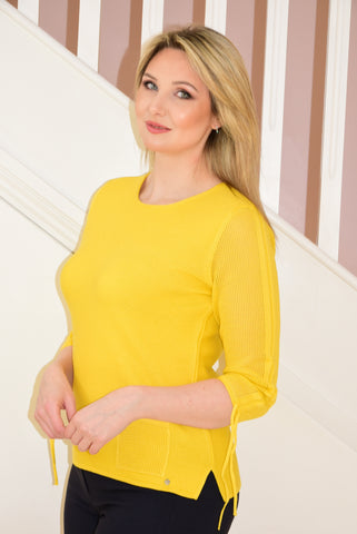 Yellow 3/4 Sleeve Knit Top